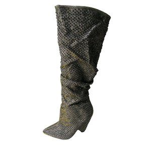 Bamboo Silver/Gold Knee High Rhinestone Boots 8.5
